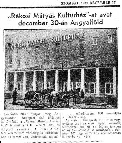 Rákosi Mátyás Kultúrház