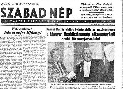 Rákosi Mátyás beterjesztette az új alkotmányról szóló törvényjavaslatot