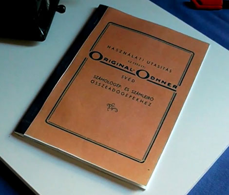 Original Odhner mechanikus számológép Használati Utasítás - reprodukált