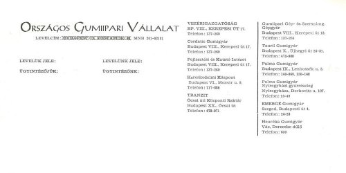 Az Országos Gumiipari Vállalat céges levélpapírjának fejléce