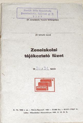 Zeneiskolai tájékoztató füzet