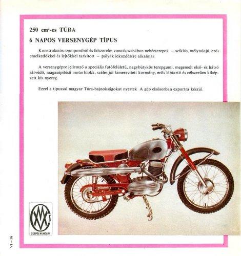 Pannónia 250 Túra motorkerékpár prospektus