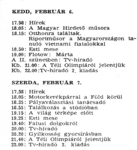 Televízió műsor 1968