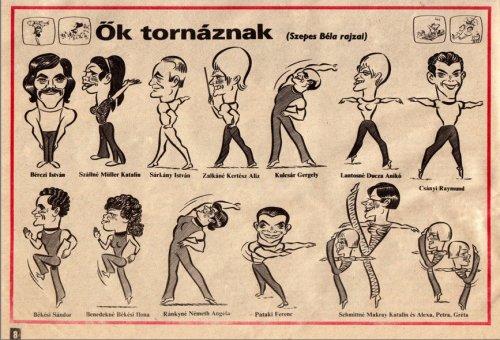 Tv torna  -  Ők tornáznak (Szepes Béla rajzai)  -  karikatúra