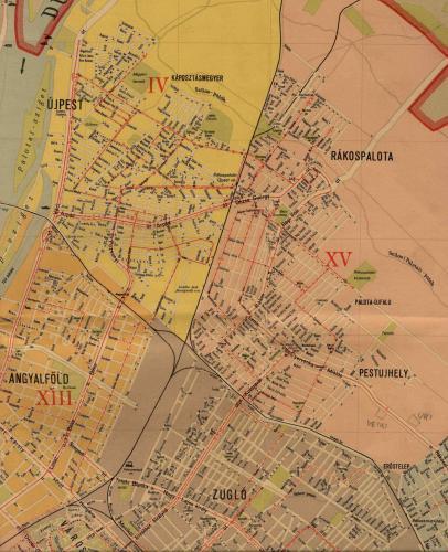 Újpest, Rákospalota és Pestújhely térképe (immár IV. és XV. kerület) 1963