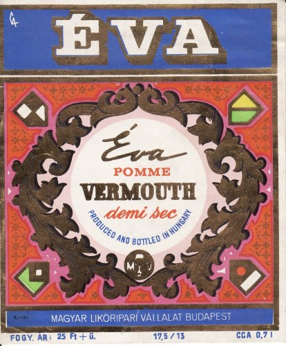 Éva vermouth italcímke