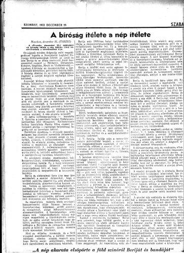 Tudósitás Lavrentyij Berija elitéléséről