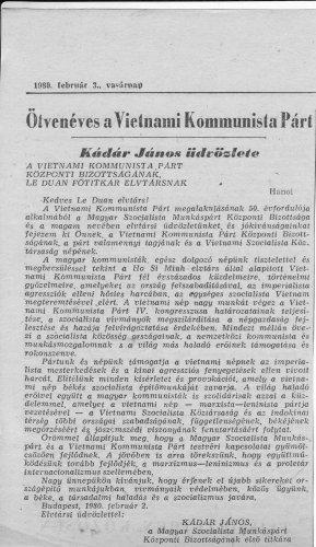 Kádár János üdvözlete a Vietnámi Kommunista Pártnak