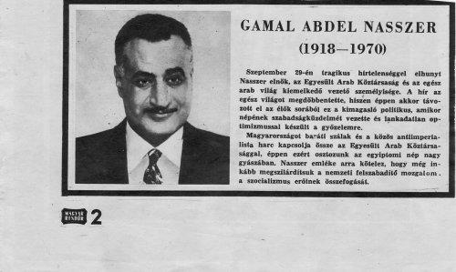 Gamal Abdel Nasszer elhunyt