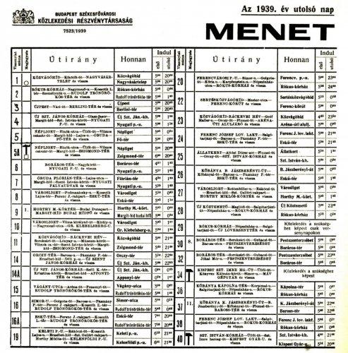 Budapesti villamos menetrend 1939 1. rész