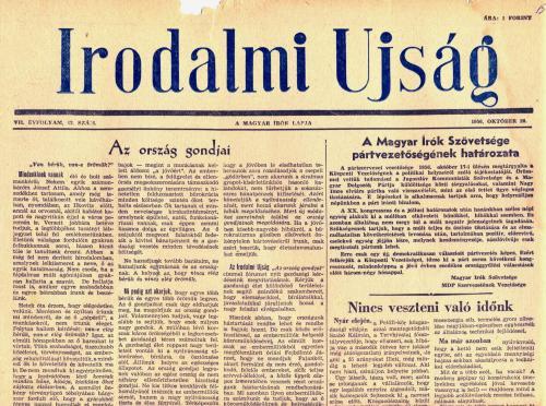 Irodalmi Újság - 1956 október 20.