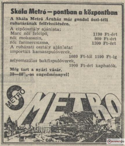 Skála Metro hirdetés