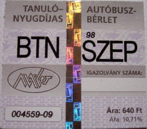 Tanuló-nyugdíjas autóbusz bérlet (Miskolc)