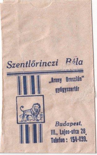 Arany Oroszlán gyógyszertár papírzacskó