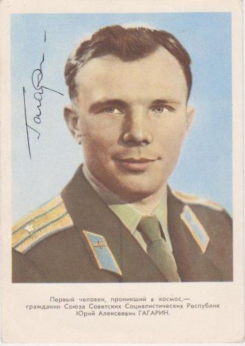 Gagarin emléklap aláírással