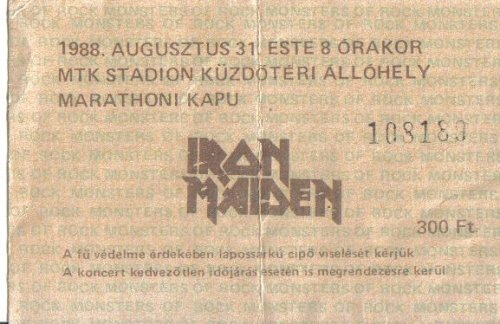 Iron Maiden koncertjegy