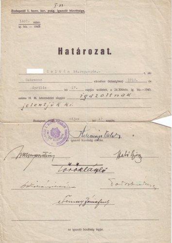 Katonai határozat igazolás 1946