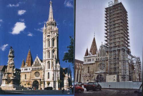 Mátyás templom felújítás előtt és most.