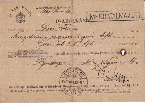 Igazolvány postai küldemény átvételéhez