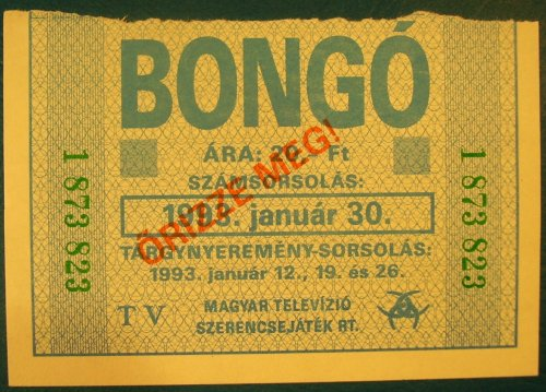 Bongó sorsjegy