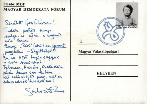 MDF választási képeslap