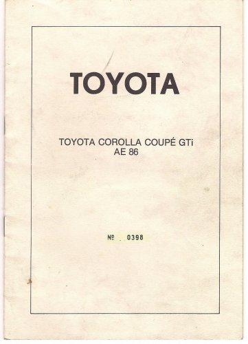 Toyota Corolla AE 86 német típusbizonyítvány