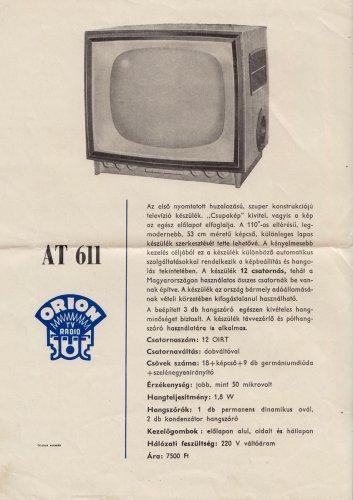 Orion Budapest televízió At-611