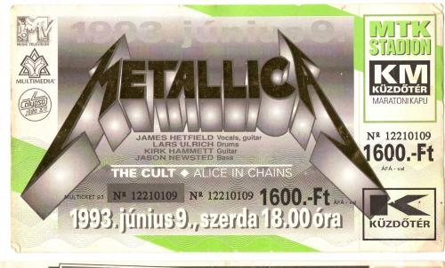 Metallica Koncertjegy