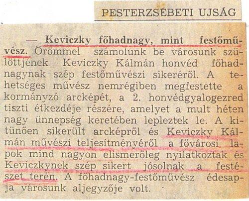 Keviczky Kálmán Horthy Miklós festményéről írt cikk a Pesterzsébeti Újságban