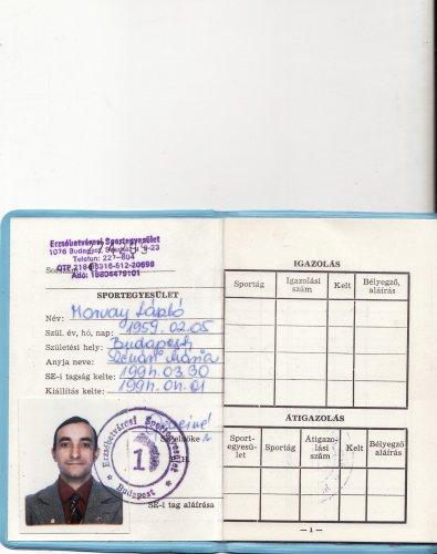 Sportegyesületi tagsági könyv