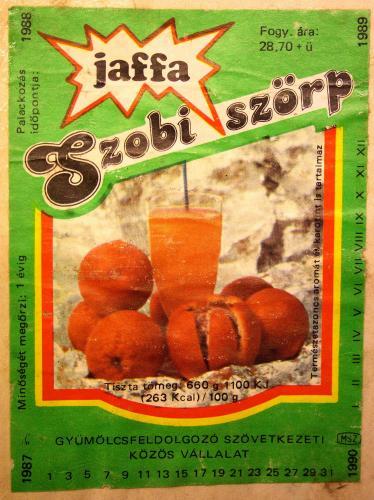 Jaffa szörp címke