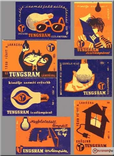 Tungsram gyufacímkék