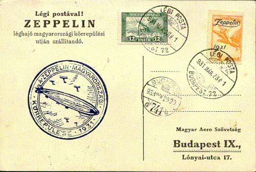 Zeppelin Budapesten boriték bélyeg