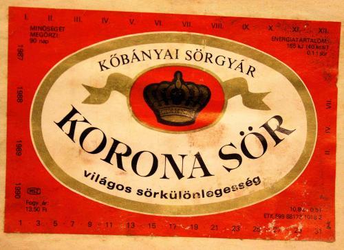 Korona sör címke