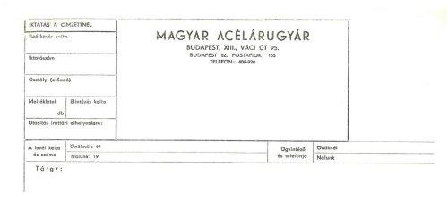 Magyar Acélárugyár céges levélpapírjának fejléce