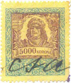 illetékbélyeg 5000 korona