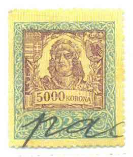 illetékbélyeg 5000 korona 2. változat