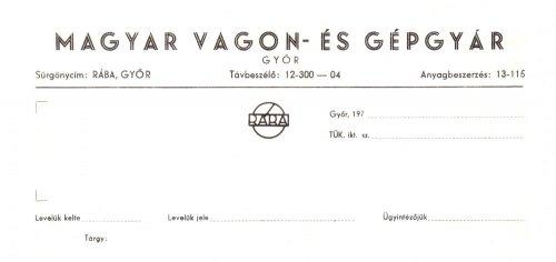 A Magyar Vagon- és Gépgyár céges levélpapírjának fejléce