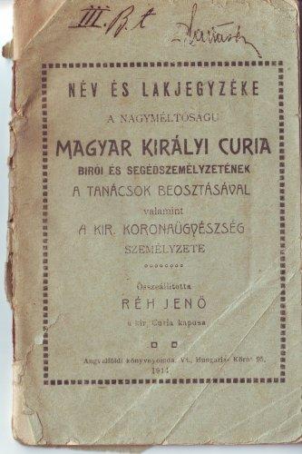 Magyar Királyi Curia névjegyzék