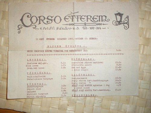 Corso Étterem étlap 1968 október 23