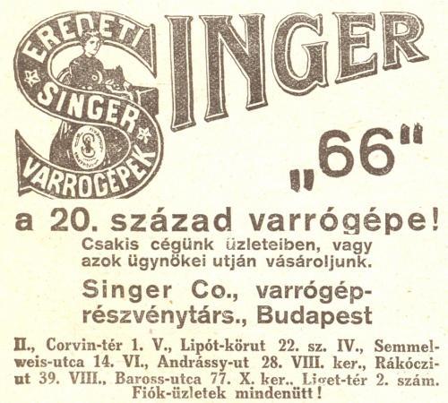 Singer varrógép hirdetés