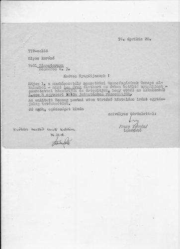Száz évet betöltött nyugdijas köszöntő levele