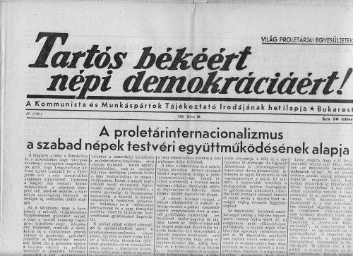 Tartós békéért népi demokráciáért!